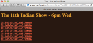 Archive of The 11th Indian Show66pm Wed. from WRFU